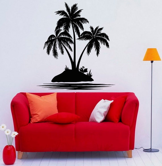 palm tree wall decal vinyl stickers nature beach sea. Black Bedroom Furniture Sets. Home Design Ideas