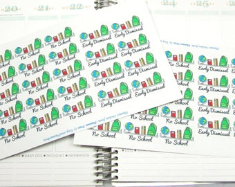 No School & Early Dismissal Neutral Planning Stickers Fits Your Life Planner ECLP 1930
