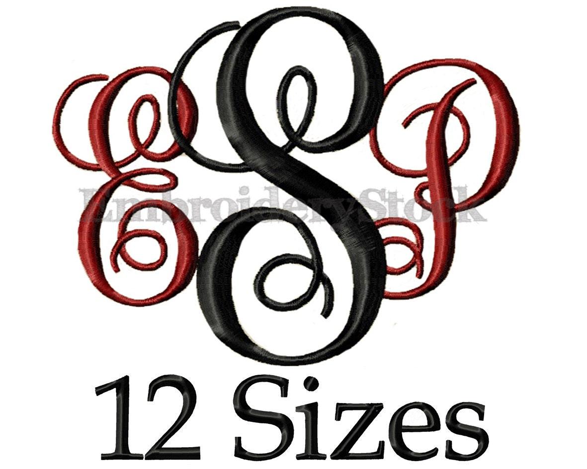 Circle monogram font machine embroidery