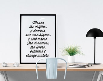 50% OFF  - TNS Manifesto // Gypsy, Boho, Freespirit, Motivational Print, Inspirational Print, Black & White, Inspirational quote, Wall Art,