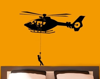 Airforce Helicopter Army Wall Decal Vinyl Stickers Military Home Interior Design Art Murals Bedroom Decor (9hl01r)