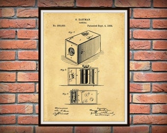 Patent 1888 Kodak Box Camera Art Print - Poster Print- George Eastman Wall Art - Photography Patent - Photographic equipment