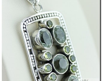 Italian Made Peridot 925 SOLID Sterling Silver Pendant & 4mm Snake Chain + FREE Worldwide Shipping