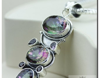 Made in Italy! 67 Carats Triple Mystic Topaz 925 SOLID Sterling Silver Pendant + 4mm Snake Chain & FREE Worldwide Shipping