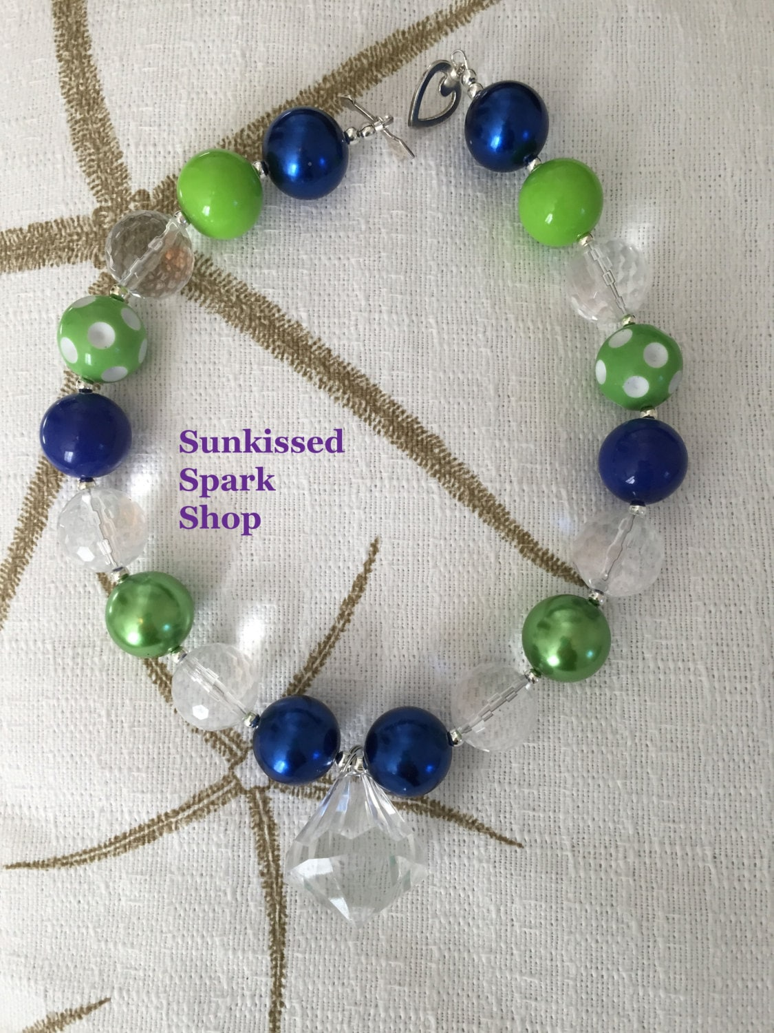 blue and green chunky beaded necklace with acrylic pendant