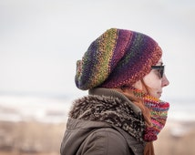 Multicolored Slouchy Beanie Hat / Color Changing Batik Hat / Rainbow Colors Urban Hand Knit Beanie / Warm Yellow Violet Orange Green Hat