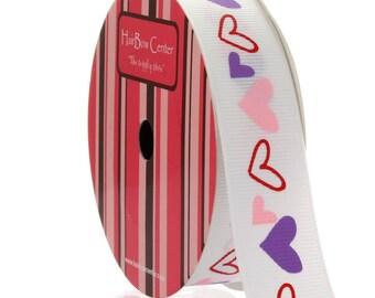 """7/8"""" Pink/Purple Hearts Grosgrain Ribbon - 5yds"""
