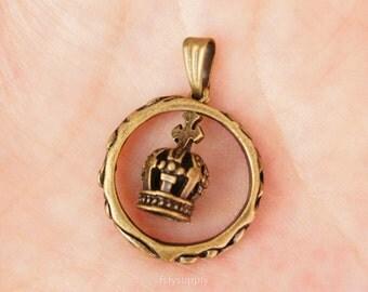 10pcs 21mm Antique Bronze Crown Charms