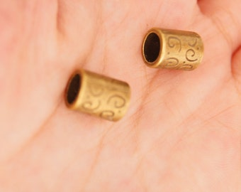 20pcs 12*4mm Antique Bronze Cylinder Beads,Large Hole Beads
