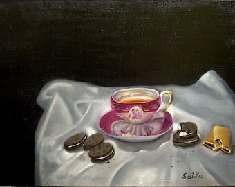 Tea and cookies, oil painting,18x24,kitchen art, wall art, home decor,still life