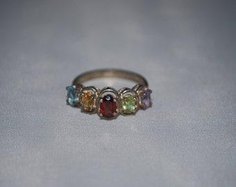 Sterling silver topaz, citrine, garnet, zircon, amethyst ring size 8.75