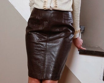 SOLD.>>Soft Brown Leather Skirt