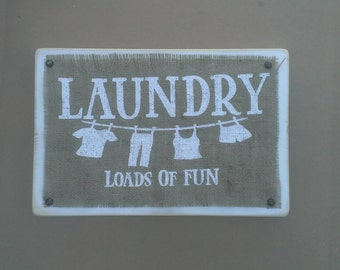 Wood Burlap Laundry Sign