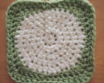 Crochet Circle-Square Coaster | Trivet | OLIVE | or custom color