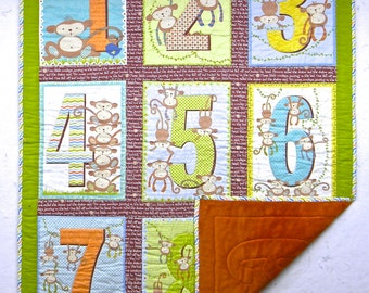 9 Little Monkeys and Numbers Quilt for Baby or Toddler.