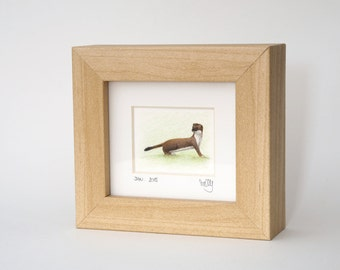 13/30 Weasel Original Miniature Framed, Signed and Dated Pencil Drawing