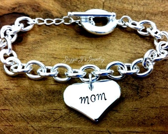 Sterling Silver Mom Bracelet, Mothers Day Gift, Mother Bracelet, Hand Stamped Bracelet with Heart Charm, Mom Jewelry, Heart Bracelet