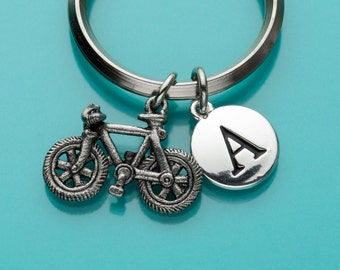 Bicycle Keychain, Bicycle Keyring, Sports, Initial Keychain, Personalized Keychain, Custom Keychain, Charm Keychain, 45