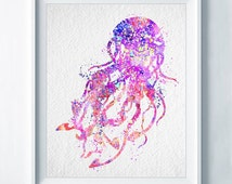 Jellyfish Watercolor Print Abstract Poster Mixed Media Painting Aqua Nursery Wedding Gift Sea Animal Painting Pink Girls Room Wall Decor A35