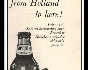 "Vintage Print Ad June 1962 : Heineken Holland Beer Liquor Wall Art Decor 3"" x 11"" Advertisement"