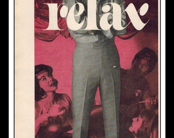 """Vintage Print Ad August 1962 : Cactus Casuals """"Relax"""" Fashion Clothing Wall Art Decor 5.5"""" x 11"""" Advertisement"""