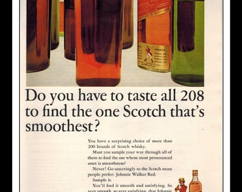"Vintage Print Ad December 1964 : Johnnie Walker Red Scotch Wall Art Decor 8.5"" x 11"" Advertisement"