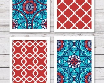 PRINTABLE Art Set, Printable Art, Red and Turquoise Art, Bedroom Art, INSTANT DOWNLOAD, Dining Room Art, Home Decor, Wall Decor, Art Prints