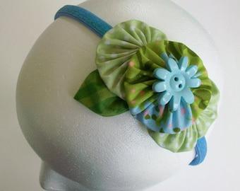 YoYo Headband , Green and Blue Floral Yoyos , Floral Headband , Polka Dots , eclectiKIDS