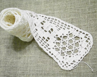 Antique Filet Lace Crochet Lace Trim White Filet Lace Trim Hand Crochet Filet Lace Trim. 1930s