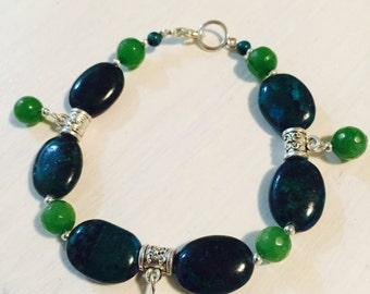 Crysocolla & Peridot Bracelet