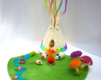 Rainbow Tipi© Wool Felt 20cm. Waldorf Playscape 20 x 25cm. Toy and Soothing Night Light. 3 Mice, 3 Toadstools, Gemstone Creek. Fire inside.