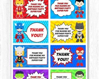 Superhero Thank You Tag, Superhero Thank You Card, Superhero Thank you Label, Superhero Thank you Note