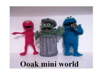Ooak Needle felted TV film character Elmo from the film the muppets Elmo's world childrens program sesame street fibre art doll miniature
