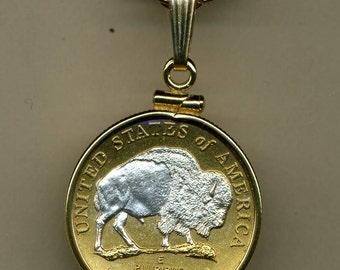 Necklace - 2-Toned Silver on Gold  U.S.  Bison nickel  Necklace