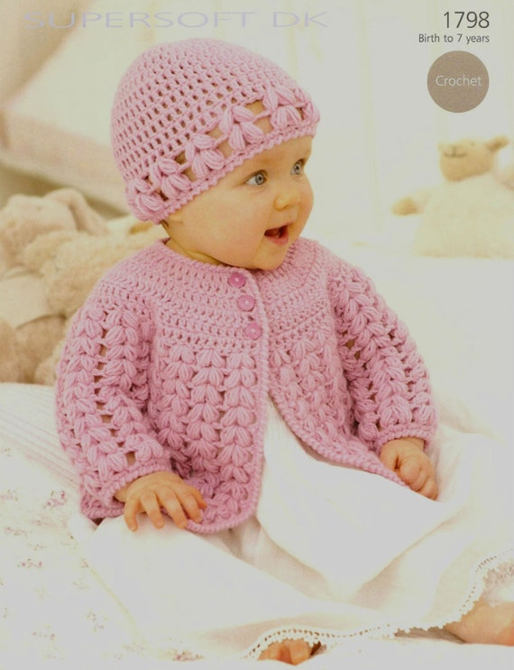 Crochet Baby Hat And Sweater Pattern : Crochet Baby Cardigan and Hat Vintage Pattern Size newborn to