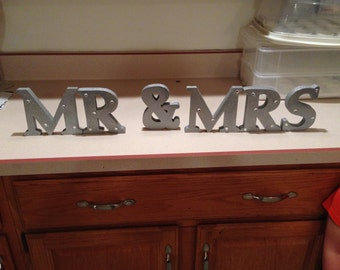 Mr. & Mrs. Silver Sparkle Decor with Jewel Accents