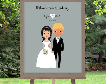 Wedding Welcome Sign DIY // Newlywed Couple Personalized Portrait Illustration // Bride & Groom // Printable Poster PDF ▷ Customized Sign
