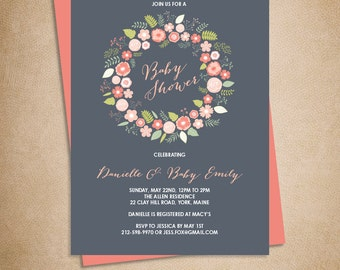 Floral Baby Shower Invitation DIY // Rustic Coral Pink Flower Wreath // Coral & Gray // Printable PDF ▷ Baby Shower Invite Printable