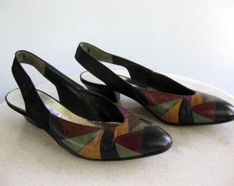 Multicolor Black Lorenzo Banfi Slingback Shoes 80's Size 39