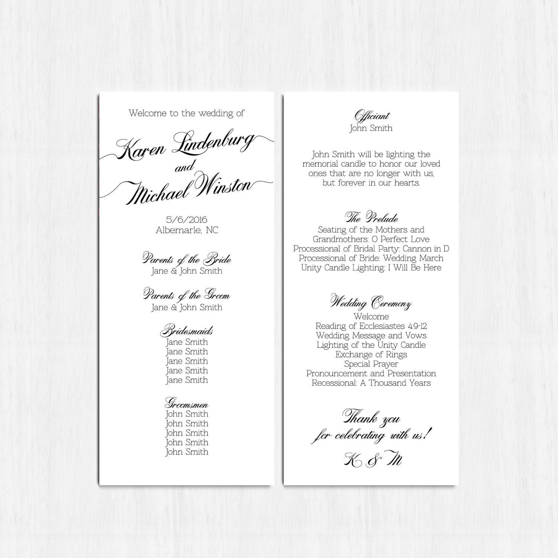 simple wedding program black and white double sided program