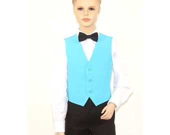Kids Turquoise Full Back Dress Vest