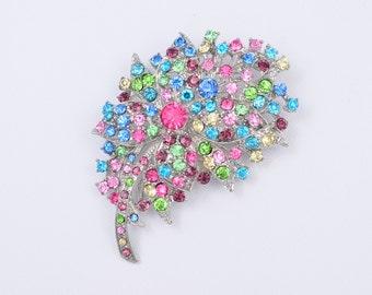 Rainbow Rhinestone Brooch Bridal Crystal Brooch Colorful Brooch Bridal Jewelry DIY Supplies