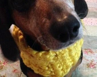 Hand-crochet bulky dog cowl scarf