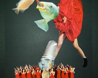 """Título: """"Por la boca pinta el pez"""" collage handmade by Madame Butterfly.Bcn"""