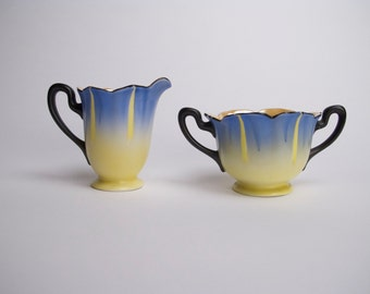 Japanese Lusterware    Painted Cream and Sugar  Home decor colors blue yellow and black