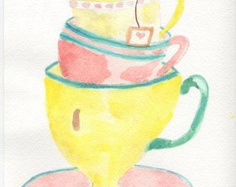 Wall art, kitchen art, teacups, teacups watercolor,  home decor, yellow teacups, stacked teacups, 8 x 10.