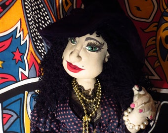 Clotilde-textiles articulate boudoir doll