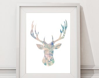 Deer Head Digital Download Silhouette Watercolor water colour Poster / Wall Art / Modern animal print / A4 A3 A2