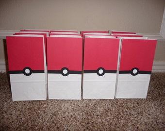 Pokemon inspired small favor bags, set of 12, Pokemon inspired goody bags.