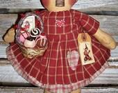 primitive valentine annie doll - handmade valentine raggedy - primitive raggedy - valentine doll - primitive annie